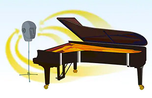 diagram demonstrating Yamaha binaural sampling methodology with grand piano and human head microphone model on microphone stand