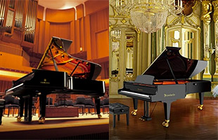 vertical split dual image with Yamaha CFX grand piano in concert hall on left and Bosendorfer Imperial grand piano in parlor