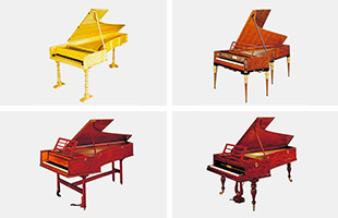 quad collage image showing four fortepianos from the collections at the Hamamatsu Museum of Musical Instruments