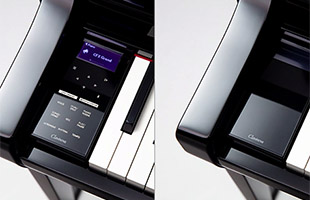 vertical split dual image of Yamaha Clavinova Touch Sensor Control panel with image of panel lit on left and panel dark on right