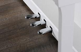 closeup of foot pedals on Kawai CN39 piano