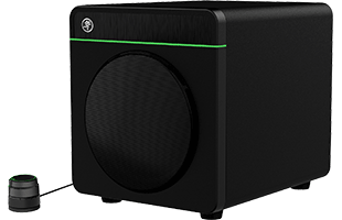 three-quarters view of Mackie CR8S-XBT subwoofer with CRDV desktop remote (sold separately as optional package) showing front, right side and top