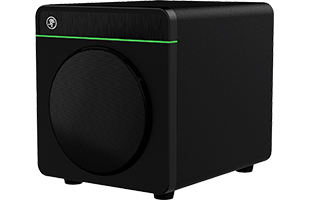 three-quarters view of Mackie CR8S-XBT subwoofer showing front, right side and top