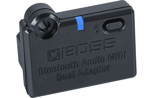 three-quarters view of Boss BT-Dual Bluetooth Audio MIDI Dual Adaptor (optional, sold separately) showing front, top and left side