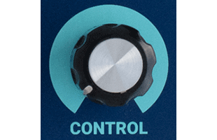 detail image of Dreadbox Darkness control panel showing CONTROL knob