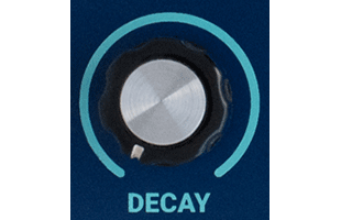 detail image of Dreadbox Darkness control panel showing DECAY knob