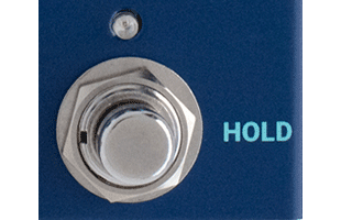 detail image of Dreadbox Darkness control panel showing HOLD soft-touch stomp switch