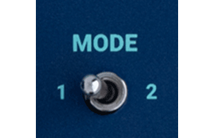 detail image of Dreadbox Darkness control panel showing MODE switch