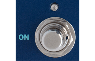 detail image of Dreadbox Darkness control panel showing main on-off soft-touch stomp switch