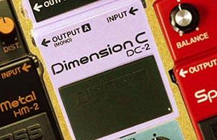 detail from vintage Boss print advertisement showing DC-2 Dimension D guitar chorus effects pedal among other Boss pedals