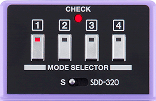 detail top view of Boss DC-2W Dimension C Waza Craft guitar chorus effects pedal showing four preset switches