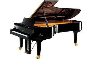 3/4 view of Yamaha CFX concert grand piano