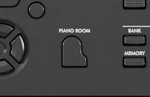 detail image of Yamaha DGX-670 control panel showing PIANO ROOM button