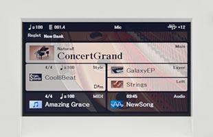 detail image of Yamaha DGX-670 showing color screen