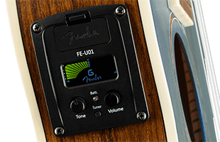 detail side view of Fender Dhani Harrison Signature Ukulele showing controls for preamp system and tuner
