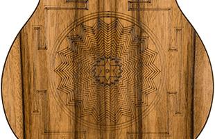 detail back view of Fender Dhani Harrison Signature Ukulele showing custom engraving