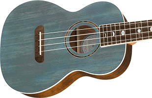 close-up perspective view of Fender Dhani Harrison Signature Ukulele showing top and right side of body and portion of fingerboard