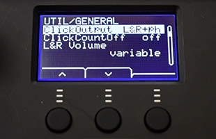 Yamaha EAD10 module screen showing click output assignment settings