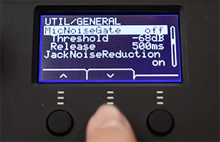 Yamaha EAD10 module settings showing microphone noise gate threshold and release time settings