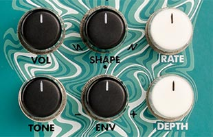 detail image of Electro-Harmonix Eddy top panel showing control knobs