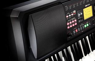 detail image showing closeup of left speaker on Korg EK-50 L