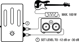 setup diagram for using Darkglass Element with 100W amp and speaker cabinet
