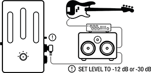 setup diagram for using Darkglass Element with amp and speaker cabinet