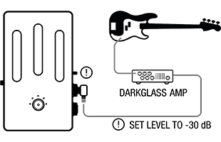 setup diagram for using Darkglass Element with Darkglass amp and speaker cabinet