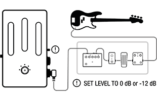 setup diagram for using Darkglass Element with pedalboard