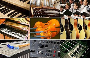 tiled collage with nine images representing variety of sounds in Kawai ES520 digital piano including choir, string instruments, mallet instruments, guitars, organs, synthesizers