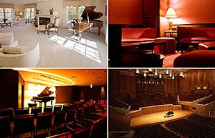 collage of four different acoustic environments including living room, lounge, recital room and concert hall