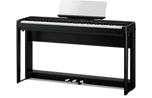 3/4 view of Kawai ES520 digital piano with matching stand and triple pedal unit showing front, top and right side