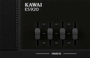 detail image of Kawai ES920 panel showing four EQ sliders