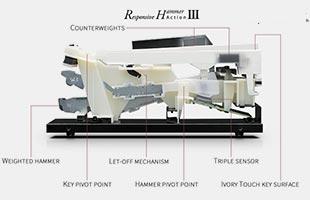side cutaway diagram with callouts showing parts of Kawai Responsive Hammer III piano key mechanism