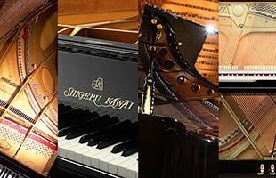collage of four different detail images of piano mechanisms