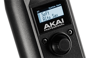 detail image of Akai Professional EWI Solo showing screen and main navigation encoder