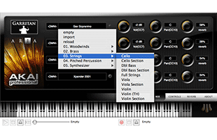 screenshot from Akai Professional EWI USB companion software showing sound selection interface
