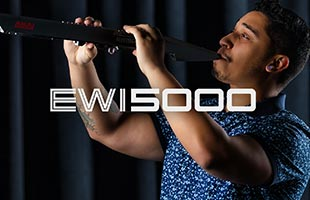 close-up profile image of musician playing Akai Professional EWI5000 with EWI5000 logo graphic superimposed