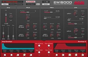screenshot from Akai Professional EWI5000 Sound Editor companion desktop computer software
