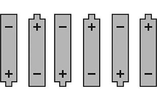 illustration diagram of six AA batteries
