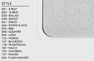 detail image of Yamaha EZ-300 top panel showing list of Style cagtegories