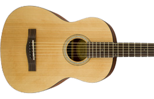 close-up image of Fender FA-15 3/4 Steel acoustic guitar showing body
