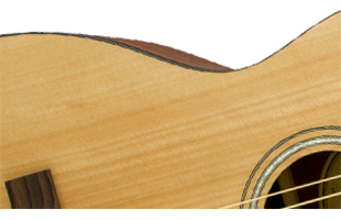 detail image of Fender FA-15 3/4 Steel acoustic guitar body showing construction