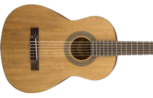 close-up image of Fender FA-15N 3/4 Nylon acoustic guitar showing body