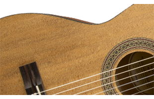 detail image of Fender FA-15N 3/4 Nylon acoustic guitar showing construction