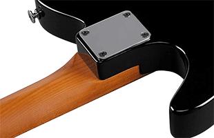 detail back image of Ibanez FLATV1 showing FLATV neck joint and heel
