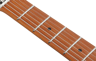 detail top image of Ibanez FLATV1 showing S-Tech roasted maple fingerboard
