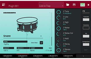 screenshot from Drumsynth plug-in on Akai Professional Force