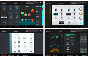 collage image with screenshots from Akai Professional Force synth engines