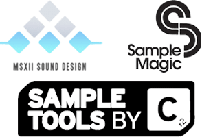 collage image of logos for companies providing sound content for Akai Professional Force including MSX Audio, Sample Magic and SampleTools by CR2